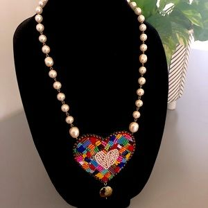 cream pearl with extra large pendent necklace